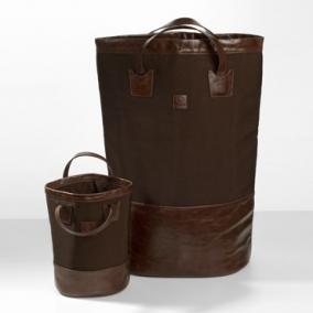 . Decor Walther Корзина для белья мягкая экокожа текстильный нейлон Loft Коричневая