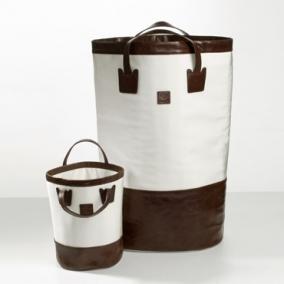 . Decor Walther Корзина для белья мягкая кожа текстильный нейлон Loft Creme