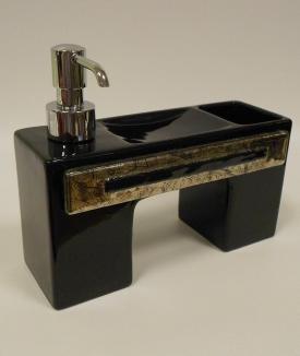 . Аксессуары для ванной Arches Marmores чёрные с серебром керамические моноблок с дозатором, лотком и стаканом