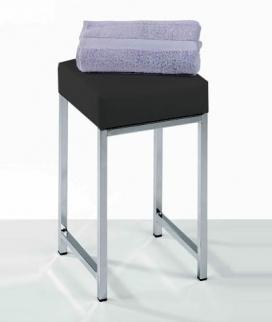 Банкетки для ванной Пуфы Интерьерные Табуреты для ванной и душа Откидные сиденья. Decor Walther Табурет для ванной с мягким сиденьем Black чёрный