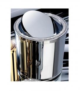 Аксессуары для ванной с кристаллами Swarovski. Настольное мини-ведро круглое хром с кристаллами Swarovski