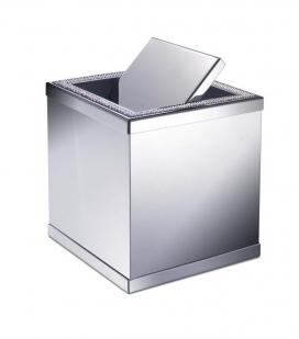 Аксессуары для ванной с кристаллами Swarovski. Настольное мини-ведро квадратное хром с кристаллами Swarovski и переворотной крышкой