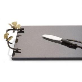 Разделочные доски. Доска с ножом 47 см Бабочки гинкго
