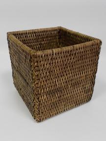 Мебель и Аксессуары для ванной из натурального дерева, Раттана и Бамбука. Плетёное мини-ведро настольное тёмное квадратное