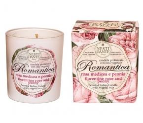 Ароматические свечи Парфюм для дома Диффузоры. Nesti Dante Romantica Rosa Medicea e Peonia Свеча Роза и Пион ароматизированная 160 г