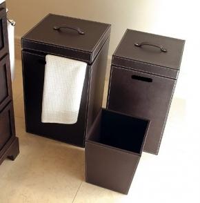 Корзины для белья. Корзина для белья кожаная квадратная коричневая ведро для мусора квадратное кожаное коричневое RW Q