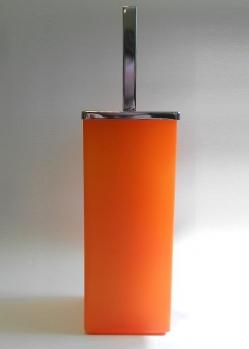 Ёршики для унитаза напольные и настенные. Ёршик для унитаза напольный стеклянный оранжевый матовый квадратный MARMORES Хром