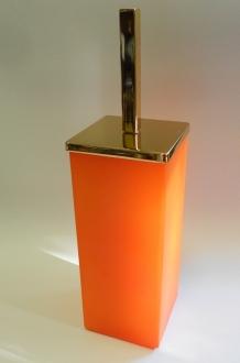 Ёршики для унитаза напольные и настенные. Ёршик для унитаза напольный стеклянный оранжевый матовый квадратный MARMORES Золотой
