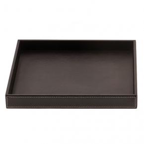 Аксессуары и Мебель для дома. Поднос лоток кожаный квадратный коричневый