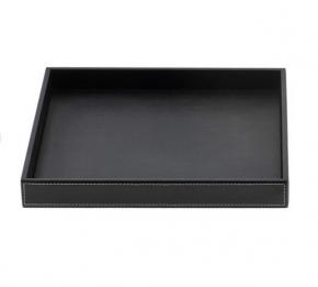 Аксессуары и Мебель для дома. Поднос лоток кожаный квадратный чёрный