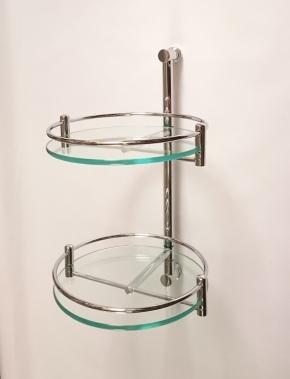 Полки для душа Сетки Полки для ванной стеклянные Полки для полотенец.   Полка стеклянная для ванной круглая двойная