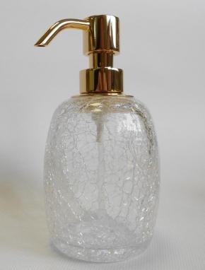Аксессуары для ванной настольные. Аксессуары для ванной настольные кракелюрное стекло золотой дозатор