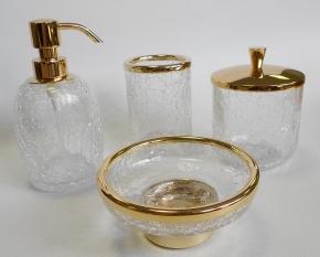 . Аксессуары для ванной настольные кракелюрное стекло золотые