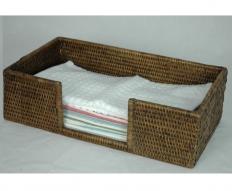 Мебель и Аксессуары для ванной из натурального дерева, Раттана и Бамбука. Раттан Rattan плетёный лоток для мини-полотенец натуральный тёмный