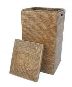 Корзины для белья. Раттан Rattan корзина для белья плетёная квадратная хранения с крышкой натуральный тёмный Большая