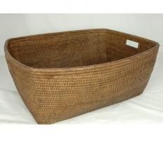 Мебель и Аксессуары для ванной из натурального дерева, Раттана и Бамбука. Раттан Rattan плетёный корзина с ручками натуральный тёмный универсальная