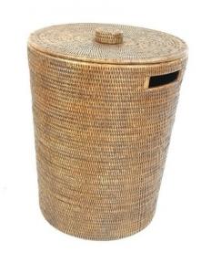 Корзины для белья. Раттан Rattan плетёная корзина для белья и хранения с крышкой натуральный тёмный