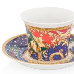 Новый Год. Чашка для капучино с блюдцем