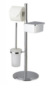 Стойки напольные с бумагодержателем, полотенцедержателем, ёршиком и высокие. Saturn Nicol стойка с ёршиком и бумагодержателем и контейнером для влажной туалетной бумаги
