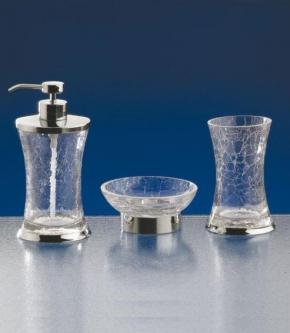 Аксессуары для ванной настольные. SPLIT Nicol настольные аксессуары для ванной хром, кракелюрное стекло