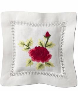 Саше Sachet. Саше хлопковое цветная вышивка Красная роза с наполнителем Лаванда от Le Blanc