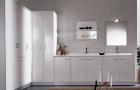 Итальянские постирочные раковины Мебель и оборудование для постирочной комнаты. Мебель для постирочной комнаты гарнитур с высокими шкафами и постирочными раковинами