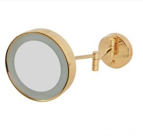 .  Зеркало косметическое с подсветкой и трёхкратным 1х3 увеличением Золотое круглое