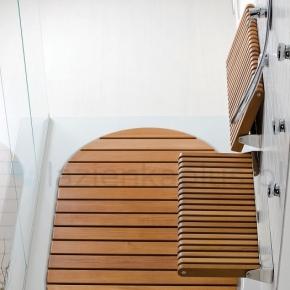 Мебель и Аксессуары для ванной из натурального дерева, Раттана и Бамбука. Günter откидное сиденье тиковое для душа банкетка