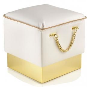 Банкетки для ванной Пуфы Интерьерные Табуреты для ванной и душа Откидные сиденья. Bath Pouff Пуф кожаный белый с золотым декором квадратный