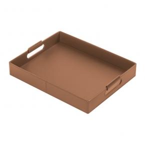 Аксессуары и Мебель для дома. Ginepro Cognac кожаный поднос прямоугольный коньяк