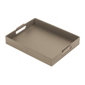 . Ginepro Mud кожаный поднос прямоугольный серый