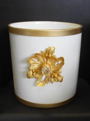 Вёдра с педалью Дровницы Вёдра. Ведро для мусора керамическое круглое белое с золотым декором