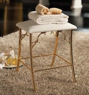 Банкетки для ванной Пуфы Интерьерные Табуреты для ванной и душа Откидные сиденья. Табурет для ванной Versail золотой белый мягкий