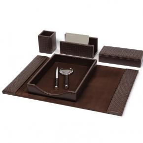 Аксессуары для кабинета Deluxe. Аксессуары для кабинета настольные Brown Chocolat коричневые кожаные плетёные