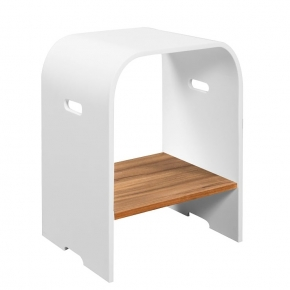 Банкетки для ванной Пуфы Интерьерные Табуреты для ванной и душа Откидные сиденья. DIAMOND Teak табурет для ванной и душа тиковый с акрилом белый