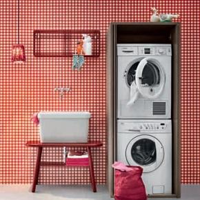 Итальянские постирочные раковины Мебель и оборудование для постирочной комнаты.  Итальянская мебель для постирочной шкаф для стиральной и сушильной машины BIREX ACQUA e SAPONE