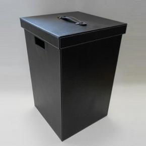 Корзины для белья. Корзина для белья кожаная квадратная чёрная ведро для мусора квадратное кожаное чёрное