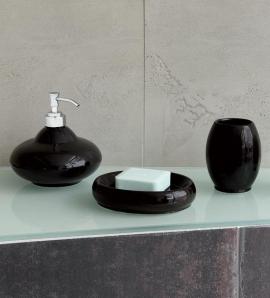 Аксессуары для ванной настольные. Samira Black Чёрные аксессуары для ванной настольные керамические