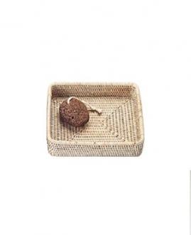 Мебель и Аксессуары для ванной из натурального дерева, Раттана и Бамбука. Лоток настольный плетёный светлый квадратный Rattan Ротанг