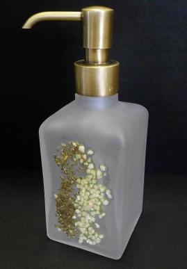 . Аксессуары для ванной Kalahari WHITE Marmores стеклянные дозатор бронзовый с декором