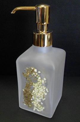. Аксессуары для ванной Kalahari WHITE Marmores стеклянные дозатор золотой с декором