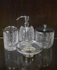 . Аксессуары для ванной настольные кракелюрное стекло хром