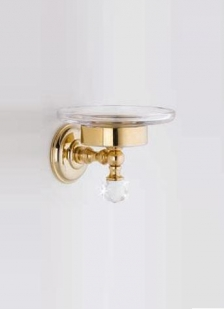 Аксессуары для ванной с кристаллами Swarovski. Аксессуары для ванной с кристаллами Swarovski Rifles мыльница золотая