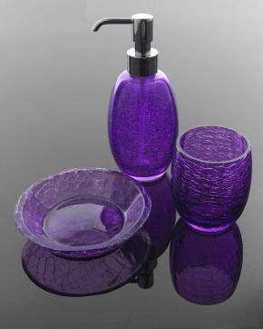 Аксессуары для ванной настольные. Аксессуары для ванной Blend фиолетовое кракелюрное стекло