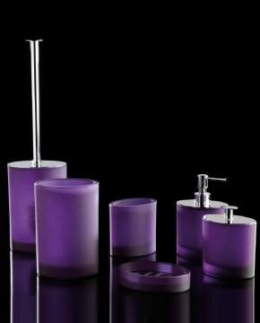 Аксессуары для ванной настольные.  Аксессуары для ванной Ellisse Violet Marmores фиолетовые стеклянные овальные