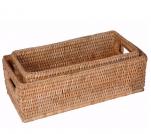 Мебель и Аксессуары для ванной из натурального дерева, Раттана и Бамбука. Лоток настольный плетёный Rattan Ротанг Мёд универсальный с ручками