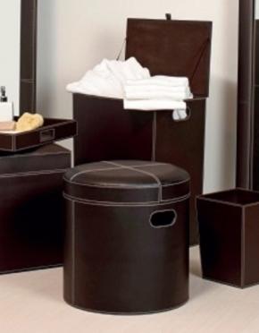 Банкетки Пуфы Скамьи. Пуф с мягким сиденьем экокожа коричневый круглый с корзиной для белья