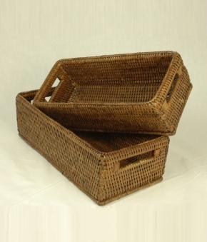 Аксессуары и Мебель для дома. Лоток настольный плетёный Rattan Ротанг Тёмный универсальный с ручками