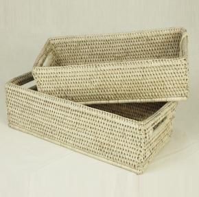 Мебель и Аксессуары для ванной из натурального дерева, Раттана и Бамбука. Лоток настольный плетёный Rattan Ротанг Светлый универсальный с ручками