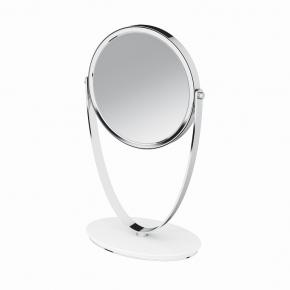 Зеркала косметические с подсветкой увеличением настенные настольные Зеркала с присосками. Зеркало настольное двухстороннее с увеличением 3х5 белое хром камень композитный Belle PomdOr